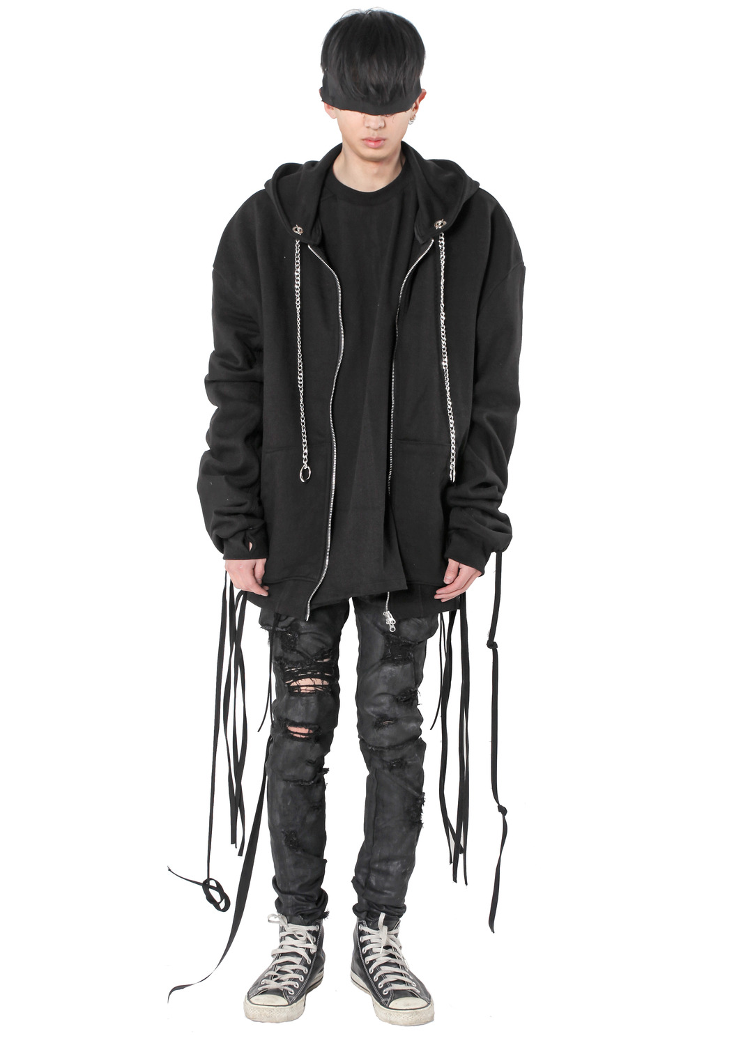 STRING HOOD ZIP UP