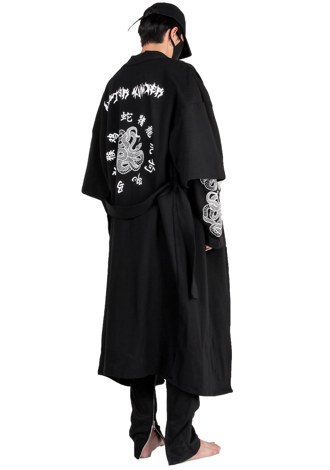 SNAKE BLACK TATTOO LETTERING LONG ROBE COAT