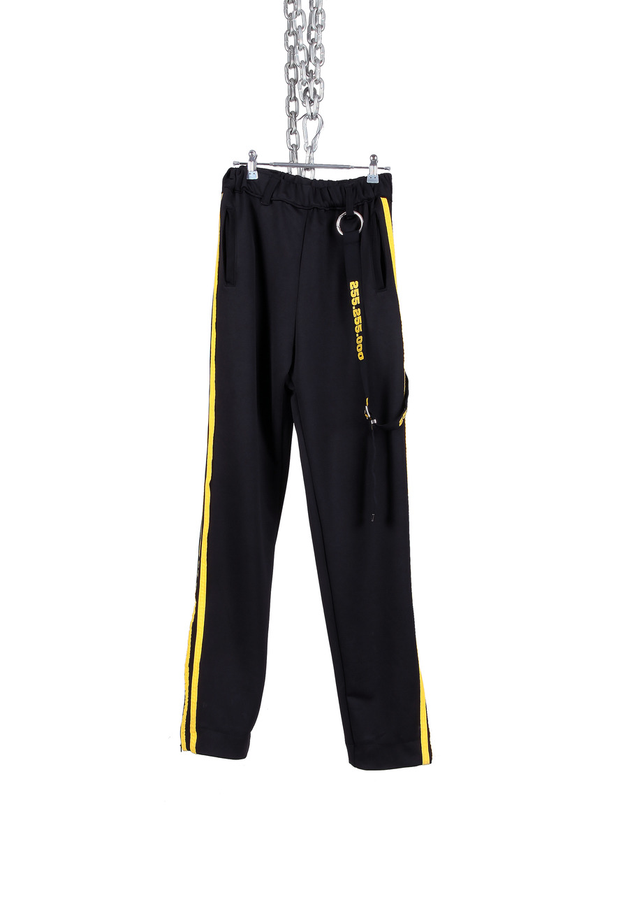BLACK OPEN HAM TRACK PANTS