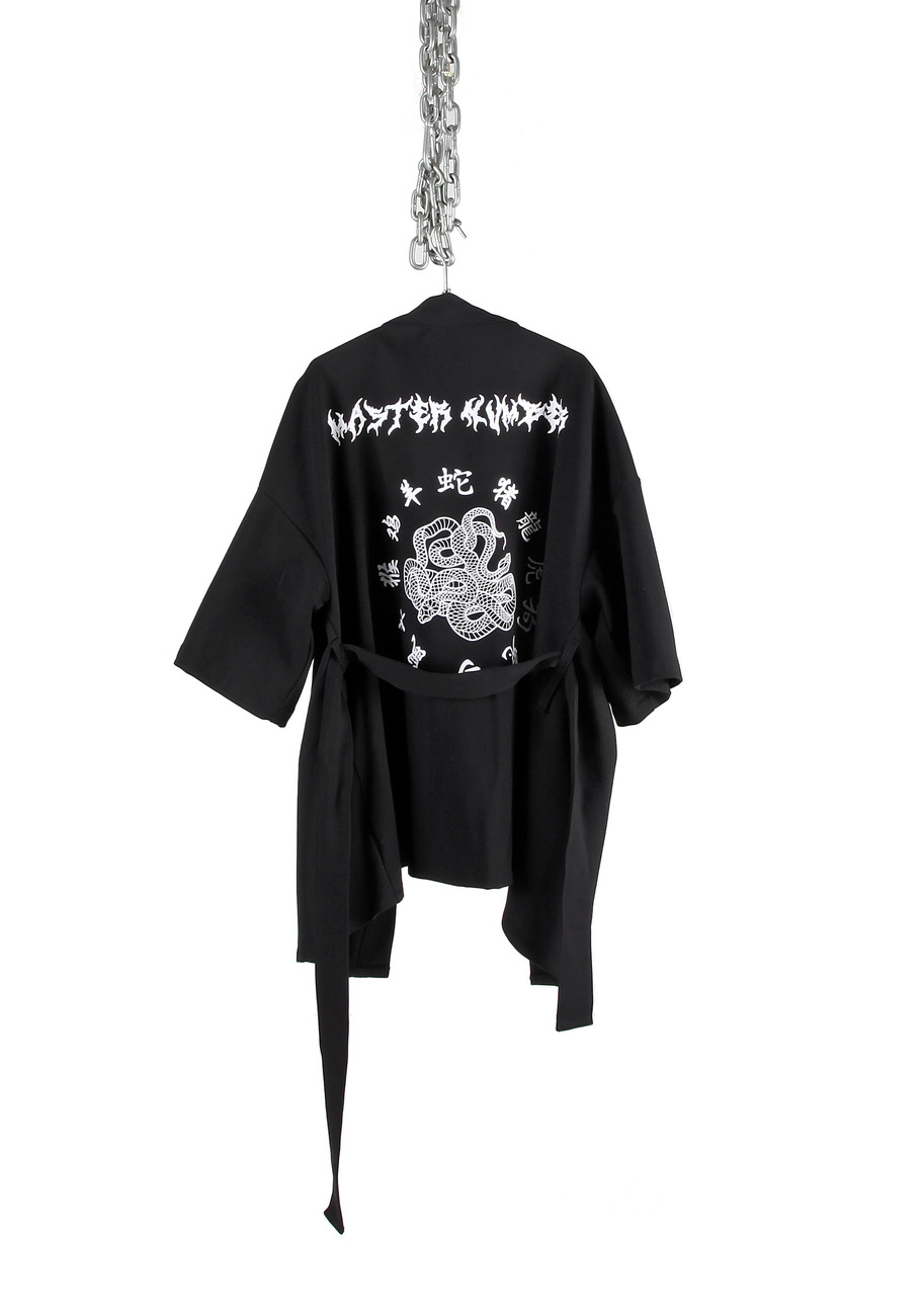 SNAKE BLACK TATTOO LETTERING SHORT ROBE COAT